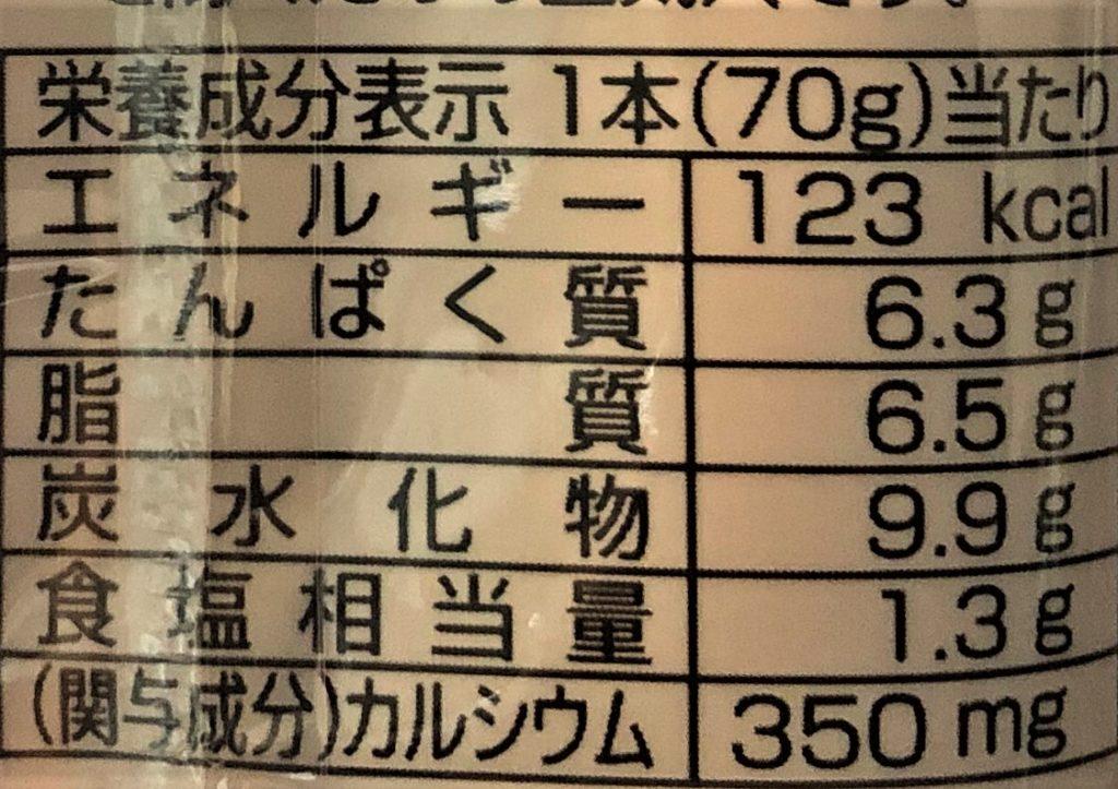 栄養成分表示 おさかなのソーセージ